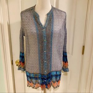Lucky Brand Button Front Boho Top Size L